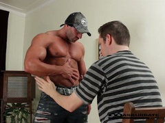 Massive muscles stripper max getting worshipped by horny stud