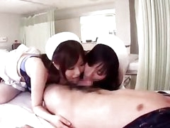 2 Busty Nurses Giving Blowjob For Patient Getting Their Nipples Sucked On The Bed In The Hospital