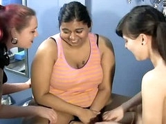 Fat indian bitch getting tickled by 2 hawt lesbians