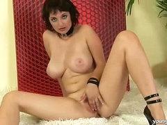 Busty girl enjoying herself
