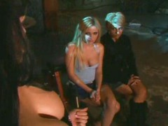Busty mistress shows her friends how to control and fuck a slave