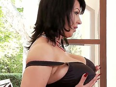 Hawt dark haired babe with big boobies Kora masturbating on camera with her vibrator