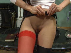 Rosa wearing sexy stockings