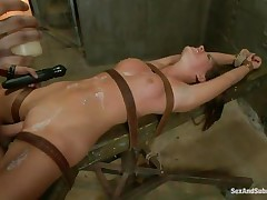 tied slut with pretty face gets her cunt fucked