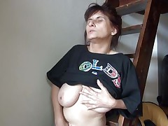 this old bitch cums in the closet