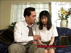 Japanese schoolgirl gets her pussy licked by an older stud