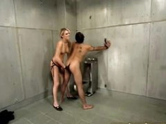 Hot femdom in jail cell includes strapon