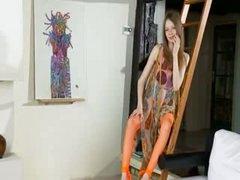 Ulta slender girl 18yo spreads love tunnel