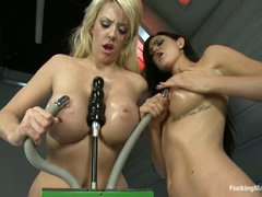 Two well stacked lesbian girls Courtney Taylor and Kendall Karson give new fucking machines a try. They get their wet oiled big tits and pussies banged and vibrated by amazing sex machines.