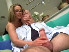 Super hot hotty in glasses fucked by chubby old guy