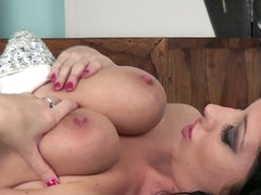 Dark haired leggy chick Lexi Lowe has amazingly hot big boobs. She plays with her soaked jugs before she opens her hot legs for pussy stroking. Busty Lexi Lowe likes to play with herself.